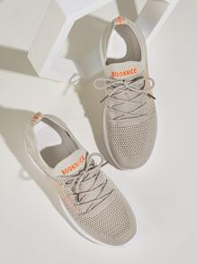 Letter Patch Knit Trainers