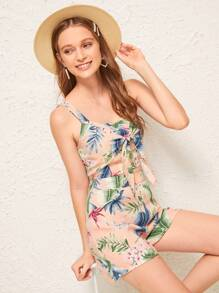 Plants Print Tie Front Shirred Cami Top & Shorts