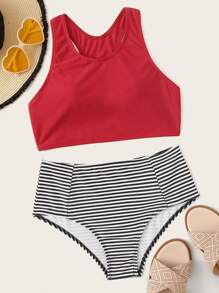 Racerback Top With Striped High Waist Bikini Set