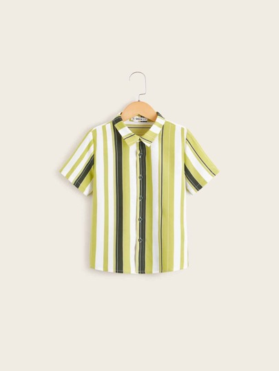 Boys Button Fly Colorful Striped Shirt