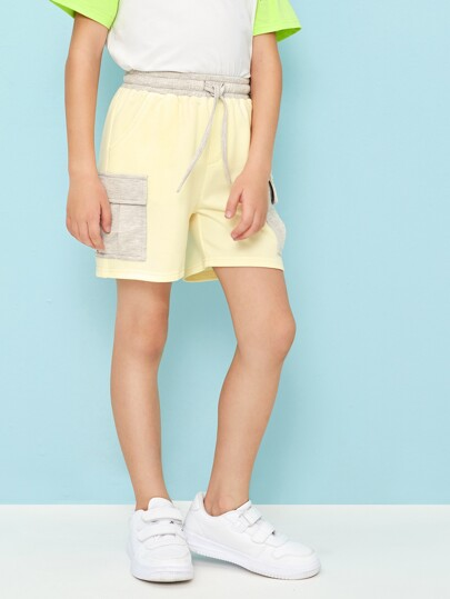 Boys Heather Grey Panel Pocket Patched Side Shorts