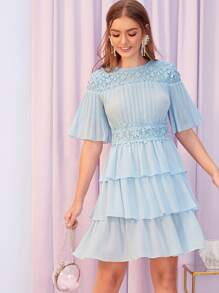 Guipure Lace Yoke and Waist Pleated Bodice Layered Dress