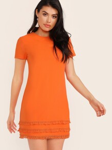 Neon Orange Tassel Hem Dress