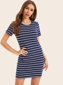 Short Sleeve Striped Bodycon Dress