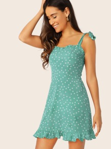 Tie Strap Shirred Back Polka Dot Dress