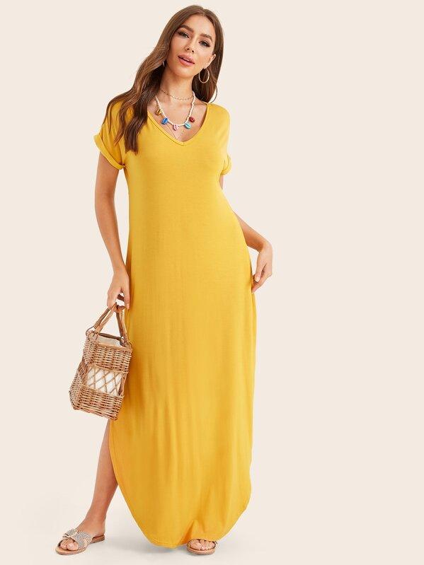 5cfd7b83ab Rolled Cuff Curved Hem Maxi Dress