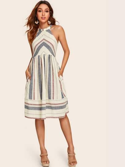 66b1d649 Tie Back Pocket Side Striped Halter Dress