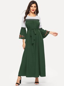 Lace Insert Embroidered Flower Belted Maxi Dress