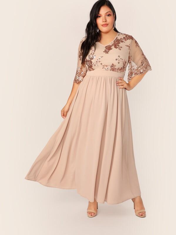 Plus V-neck Contrast Sequin Flare Dress