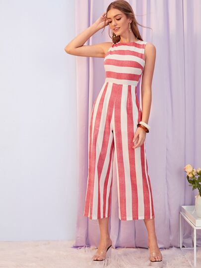 fd6c07f6a Striped High Waist Tank Palazzo Jumpsuit