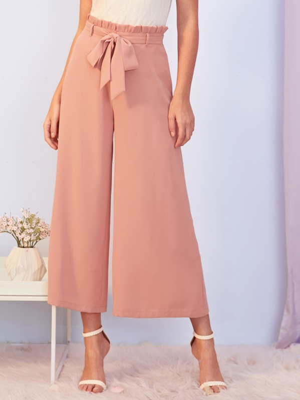 Shein Paperbag Waist Self Belted Wide Leg Pants by Sheinside
