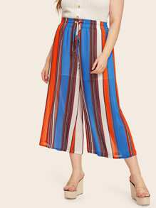 Plus Drawstring Waist Striped Culotte Pants
