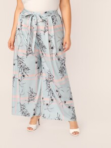 Plus Floral & Plaid Print Belted Palazzo Pants