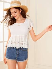 Shirred Eyelet Embroidery Scallop Trim Blouse