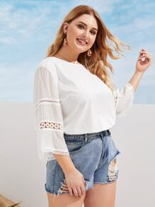 Plus Hollow Out Sleeve Solid Blouse