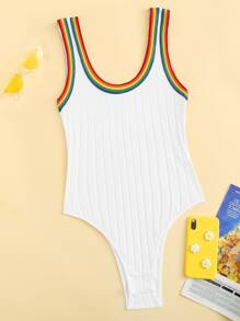 Plus Rainbow Stripe Trim Ribbed Bodysuit