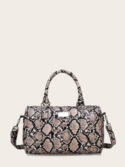 Snakeskin Duffle Bag With Double Handle