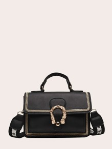Stitch Trim Metal Detail Satchel Bag