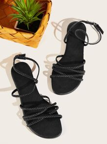 Braided Detail Ankle Strap Sandals
