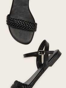 Sandalias Con Diseño Partes Trenzado Dos shBdCQrxt