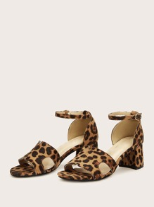 Leopard Pattern Cut Out Detail Chunky Heels