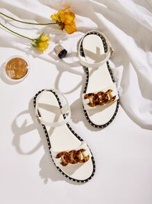 Studded Detail Buckle Strap Sandals