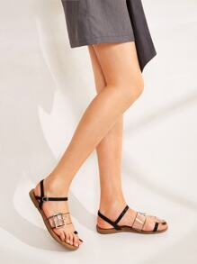 Clear Buckle Strap Toe Ring Sandals