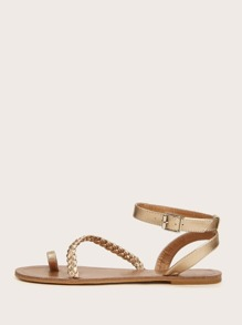Toe Ring Ankle Strap Braided Detail Sandals