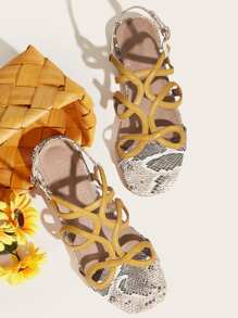 Snakeskin Cut Out Slingback Sandals