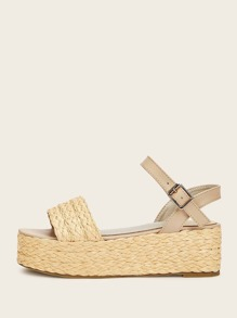 Braided Detail Buckle Strap Espadrille Sandals