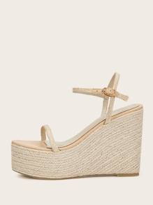 Two Part Braided Detail Espadrille Wedges