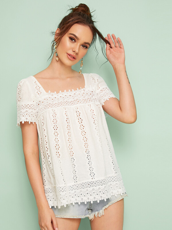 674a7139f2 Eyelet Embroidery Square Neck Smock Blouse   SHEIN UK