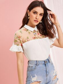 Contrast Collar Embroidery Mesh Blouse