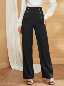 Double Breasted High Waist Tailored Pants