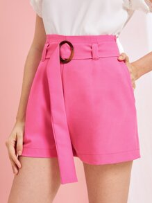 Neon Pink O-ring Belted Tailored Shorts