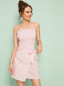 Striped Shirred Frill Trim Bandeau With Wrap Tie Side Skirt