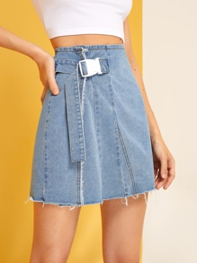 Buckle Front Raw Hem Denim Skirt