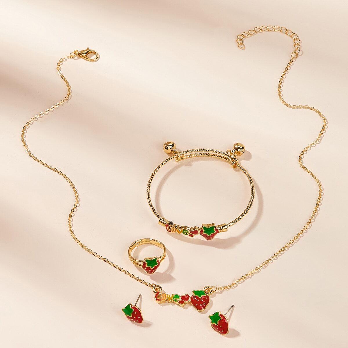 Kleinkind Mädchen Halskette mit Erdbeere Dekor & Ohrringe & Ring & Armband 5 Stücke