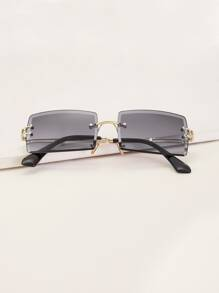 Rimless Square Frame Sunglasses