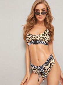 Leopard Belted Top With Lace-up Panty Bikini