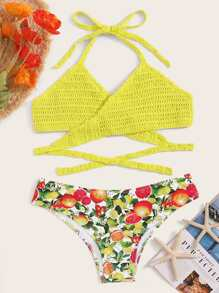 Crochet Knot Halter Top With Orange Print Bikini