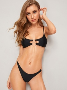 Ring Linked Top With High Cut Bikini Set
