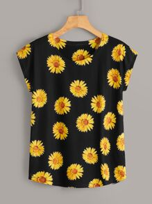 Sunflower Print Cap Sleeve Tee