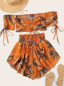 Tropical Print Drawstring Shirred Off Shoulder Top With Shorts
