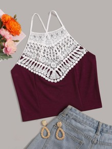 Lace Panel Criss Cross Back Cami Top