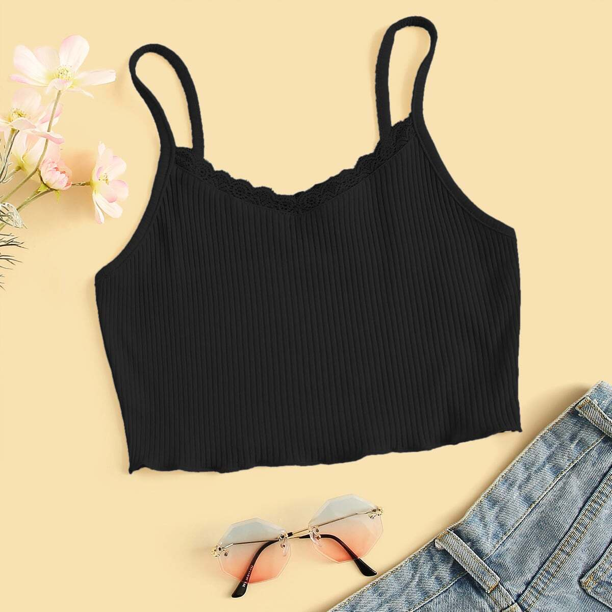 Contrast Lace Ribbed Cami Top