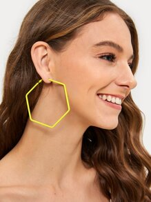 Hexagon Shaped Hoop Earrings 1pair