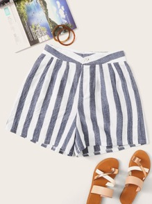 Vertical-striped Button Fly Shorts