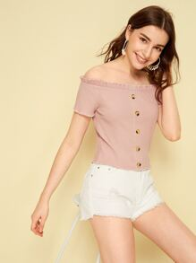 Off-shoulder Button Front Frill Trim Top