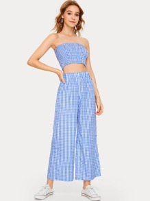 Gingham Print Shirred Bandeau With Wide Leg Pants